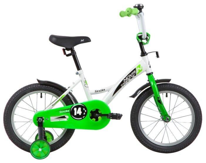 Детский велосипед Novatrack Strike 14 (2020), белый/зеленый